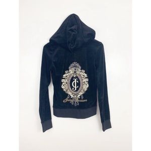 Juicy Couture Velour Bling Black Zip Up Jacket